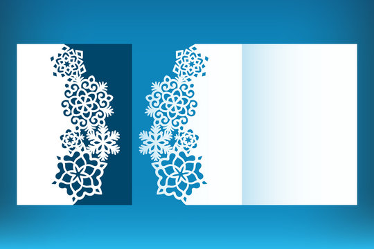 Laser cut Christmas card template with snowflakes. Invitation for Christmas party or greeting card. Image suitable for laser cutting, plotter cutting or printing.