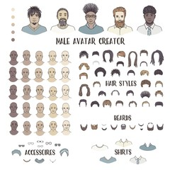 Male avatar creator - hand drawn faces and hairstyles to create your own personal profile picture