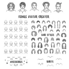 Female avatar creator - hand drawn faces and hairstyles to create your own personal profile picture