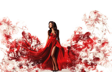 gorgeous woman in red dress. Studio picture, white background