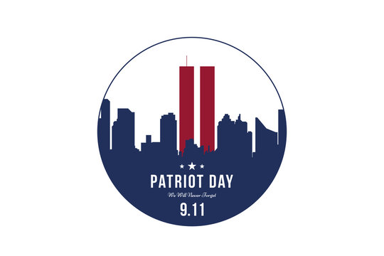 Patriot Day september 11. 2001 We will never forget. Font inscription with city silhouette on a background. Banner to the day of memory of the American people. Flat element EPS 10
