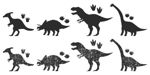 Dinosaurs and footprints black silhouette vector set isolated on a white background.