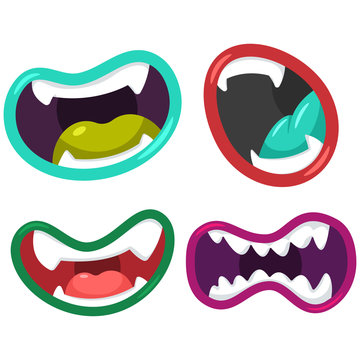 Cartoon mouth of aliens and monsters vector set isolated on a white background.
