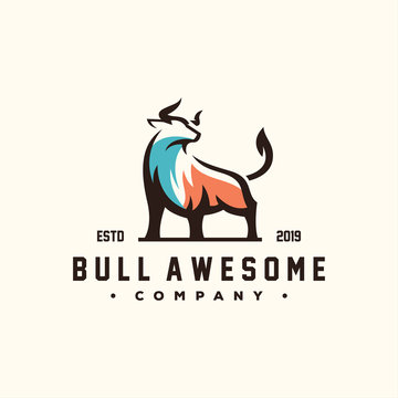 awesome bull color logo design