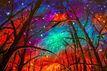 Foto auf Acrylglas Violett rot Original acrylic painting Night landscape. Beautiful illustration starry sky through trees in forest artwork art on canvas.
