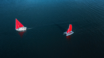 luxury yacht sailing on opened sea. aerial view. drone shot. picture with space for text