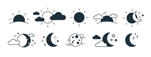 Bundle of rising or setting sun, crescent moon, cloud and stars symbols. Set of day and night time monochrome pictograms drawn with black contour lines on white background. Modern vector illustration. Fototapete