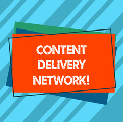 Writing note showing Content Delivery Network. Business photo showcasing Geographically dispersed network of proxy servers Pile of Blank Rectangular Outlined Different Color Construction Paper