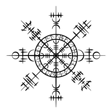 Black grunge circle with white Scandinavian viking symbols