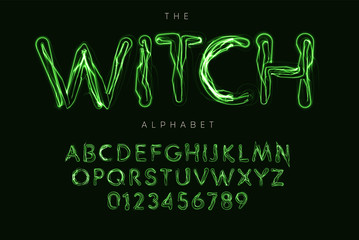 Halloween letters and numbers set. Witch magic style vector latin alphabet. Ghostbusters font for events, promotions, logos, banner, monogram and poster. Typography design.