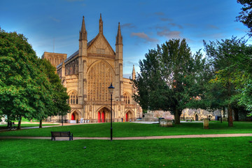 West front of Winchester Cathedral, one of the largest cathedrals in Europe