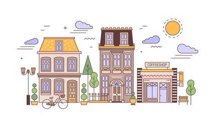 Fototapete - Urban landscape or cityscape with facades of stylish residential buildings. Street view of city district with elegant living houses and coffee shop. Colorful vector illustration in line art style.