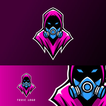 toxic mask sport esport logo template design