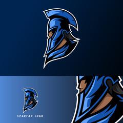 blue spartan warior mascot sport esport logo template with mask