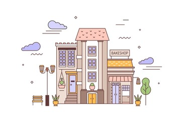 Fototapete - Urban landscape or cityscape with facades of living building and bakery. Street view of city district with elegant house and bakeshop or bakehouse. Colorful vector illustration in linear style.