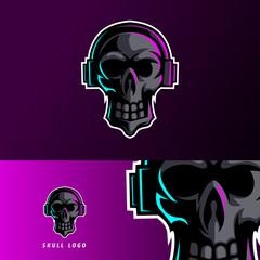 black skull earphone mascot esport logo template