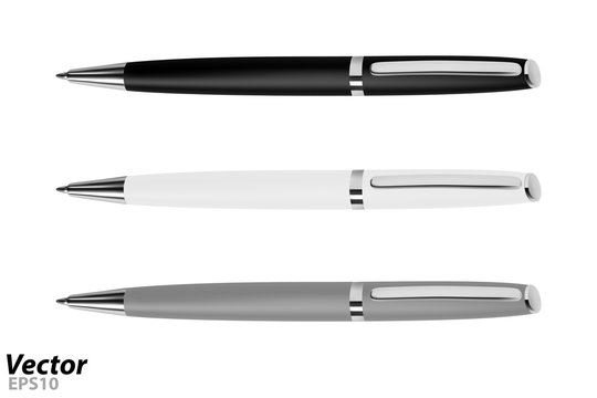 Automatic ball pen in the vector.Ballpoint pen in vector on white background.