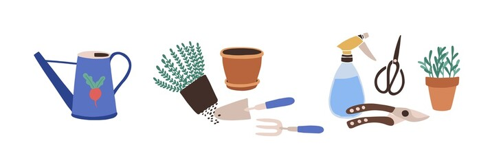 Composition with gardening tools isolated on white background. Bundle of equipment for agricultural work, plant cultivation or transplantation, work in garden. Flat cartoon vector illustration. Fototapete