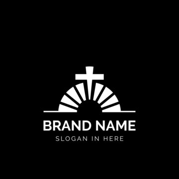 Church brick logo design vector illustration