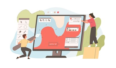 Pair of funny young man and woman drawing with pen in graphic editor. Cute digital designers or illustrators working together on giant computer display. Flat cartoon colorful vector illustration. Wall mural