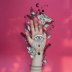 Illustration of hand with eye of providence and plant motifs
