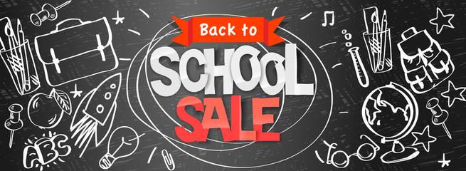 Back to school Sale horizontal banner, doodle background, vector illustration.