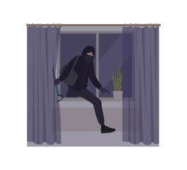 Male burglar wearing mask and hoodie breaking in house or apartment. Theft, burglary or housebreaking. Thief, burglar, criminal, housebreaker or outlaw. Flat cartoon colorful vector illustration. - fototapety na wymiar