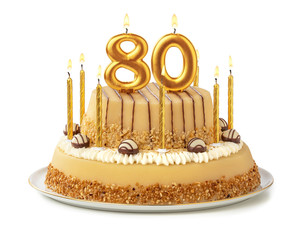 Festliche Torte mit goldenen Kerzen - Nummer 80