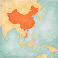 Map of East Asia - China and Vietnam