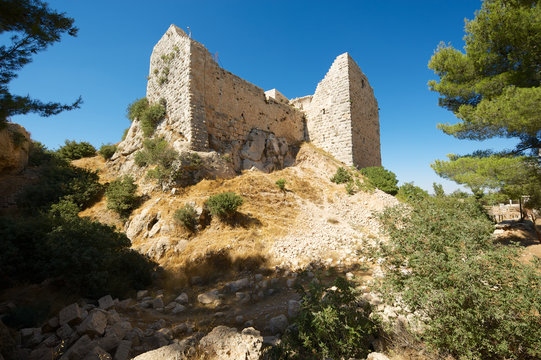 Ajloun fortress ruins on the hill  in Ajloun, Jordan. This ayyubid castle was built in the 12th century, used by crusaders and arabs.