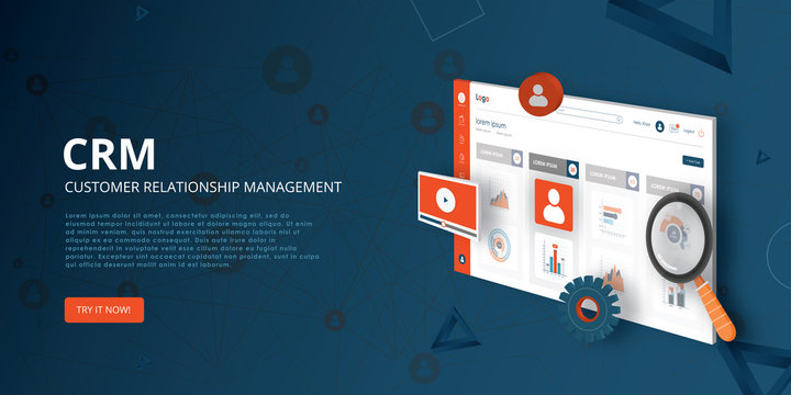 CRM - Customer relationship management isometric concept. Vector illustration