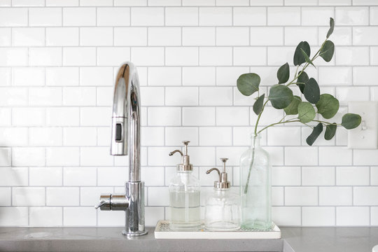 Modern Stainless Steel Sink with Soap Dispensers and Plant, Modern Kitchen Decor, White Subway Tile
