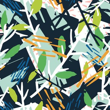 Natural seamless pattern with plant branches and chaotic abstract stains