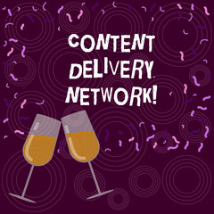 Writing note showing Content Delivery Network. Business photo showcasing Geographically dispersed network of proxy servers Filled Wine Glass for Celebration with Scattered Confetti photo
