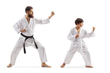 Boy and man in kimonos practicing karate