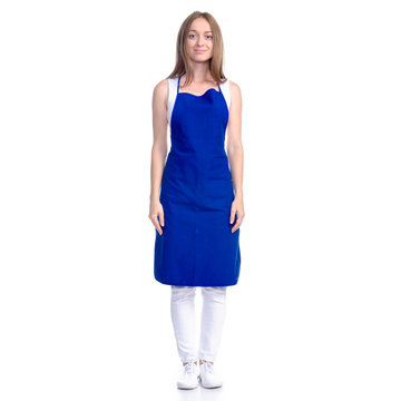 Woman in blue apron smile on white background isolation
