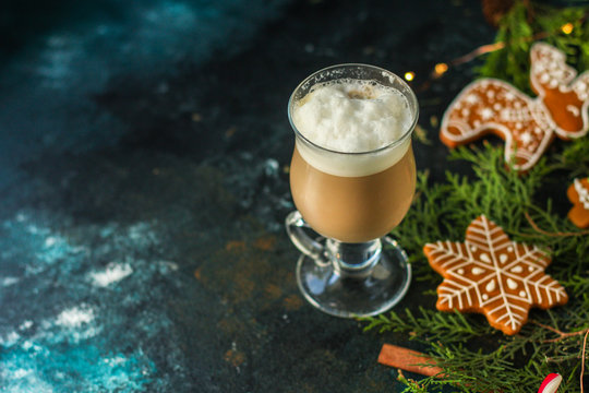 gingerbread, cappuccino, gifts and holiday, happy New Year. festive background. food background. top view
