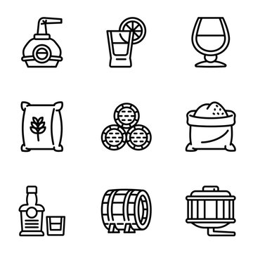 Whiskey factory icon set. Outline set of 9 whiskey factory vector icons for web design isolated on white background