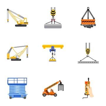 Lifting platform icon set. Flat set of 9 lifting platform vector icons for web design isolated on white background