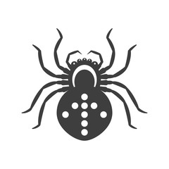 Black spider icon with an arrow symbol. Vector on a white background