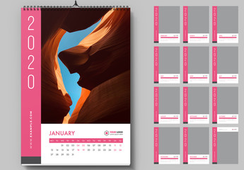Wall Calendar Layout with Pink Accents