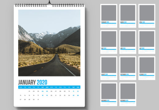 Wall Calendar Layout with Blue Accents