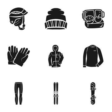Snowboarding equipment icon set. Simple set of 9 snowboarding equipment vector icons for web design isolated on white background
