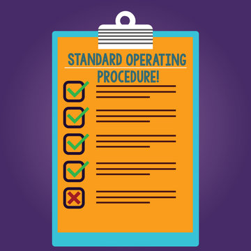 Word writing text Standard Operating Procedure. Business concept for Detailed directions on how to perform a routine Lined Color Vertical Clipboard with Check Box photo Blank Copy Space