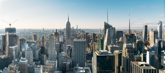 Aerial view of the large and spectacular buildings in New York City Fotobehang