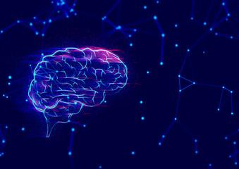 brain robot ai futuristic, digital technology internet network background 3d illustration rendering, atom cell neuron plexus science, deep learning, idea creative