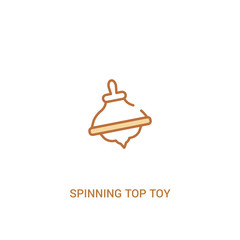spinning top toy concept 2 colored icon. simple line element illustration. outline brown spinning top toy symbol. can be used for web and mobile ui/ux.