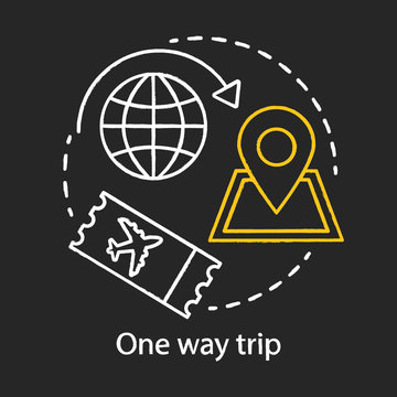 One way trip chalk icon. Trip, vacation, tourism. Single ticket. Departure and destination points, route. Flight ticket booking. Boarding pass. Isolated vector chalkboard illustration