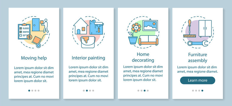 Home services onboarding mobile app page screen with linear concepts. Interior painting. Home decorating. Four walkthrough steps graphic instructions. UX, UI, GUI vector template with illustrations