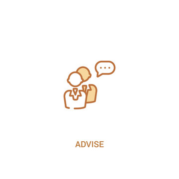 advise concept 2 colored icon. simple line element illustration. outline brown advise symbol. can be used for web and mobile ui/ux.